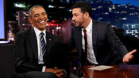 U.S. President Barack Obama laughs as he is interviewed by Jimmy Kimmel in a taping of the Jimmy Kimmel Live! show in Los Angeles. © Kevin Lamarque