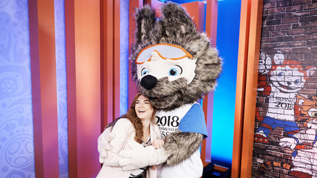 Ekaterina Bocharova, who designed the 2018 FIFA World Cup official mascot, at the unveiling during the Vecherniy Urgant TV program. © FIFA / Getty Images