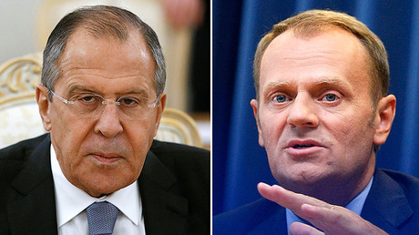 Russian Foreign Minister Sergei Lavrov (L), Poland's Prime Minister Donald Tusk (R) © Reuters