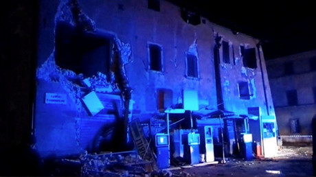 Still image from video shows damaged building after an earthquake in Visso, Italy October 26, 2016. © Reuters Tv