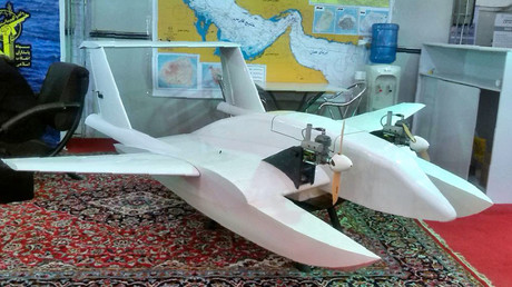 "A handout picture released on October 26, 2016 by the Tasnim news agency show what Iran's elite Revolutionary Guards referred to as ""suicide drone"" and capable of delivering explosives to blow up targets at sea and on land, in the Iranian capital Tehran. © Tasnim news"