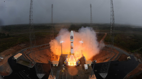 Soyuz lifted off for the first time from Europe's Spaceport in French Guiana on 21 October 2011, carrying the first two Galileo In-Orbit Validation satellites. © ESA_events