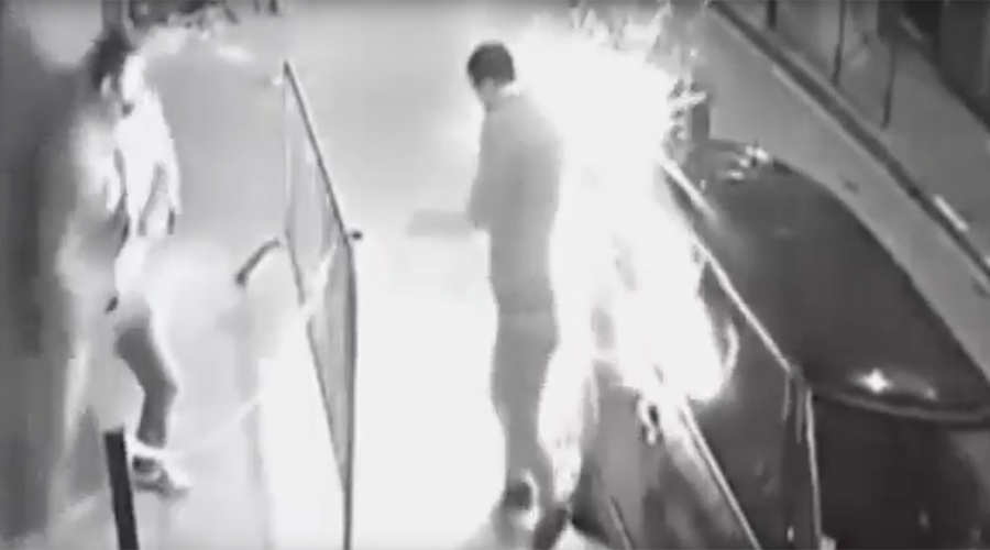 Exploding e-cigarette engulfs man in flames in horrifying CCTV footage (VIDEO)