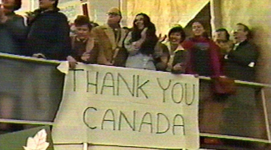 A banner expressing gratitude to the Canadian government for hiding six US diplomats © Wikipedia