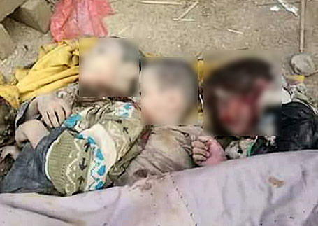 Local activists shared photos of what they say are dead bodies of the airstrike victims with RT. RT cannot independently verify the authenticity of the images.