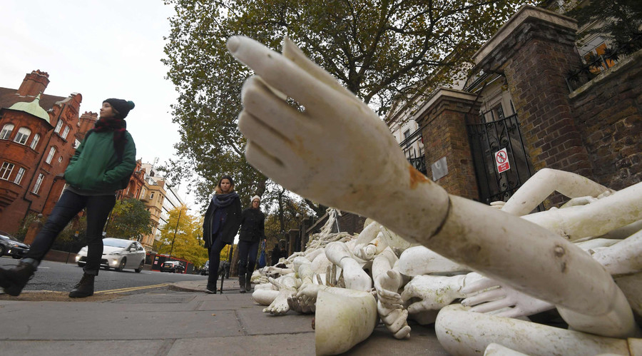 Fake limbs outside Russian embassy in UK – 'premeditated act of hooliganism'
