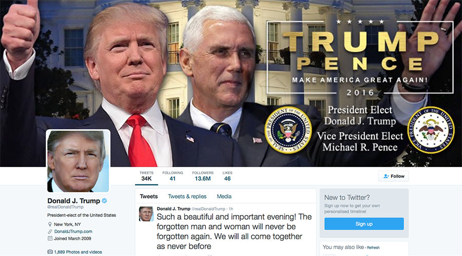 Donald Trump's first act as president-elect? Update Twitter bio