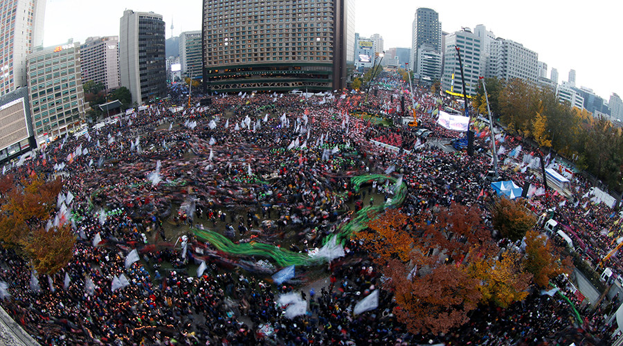 100,000s stage largest-ever protest in Seoul to demand president resign