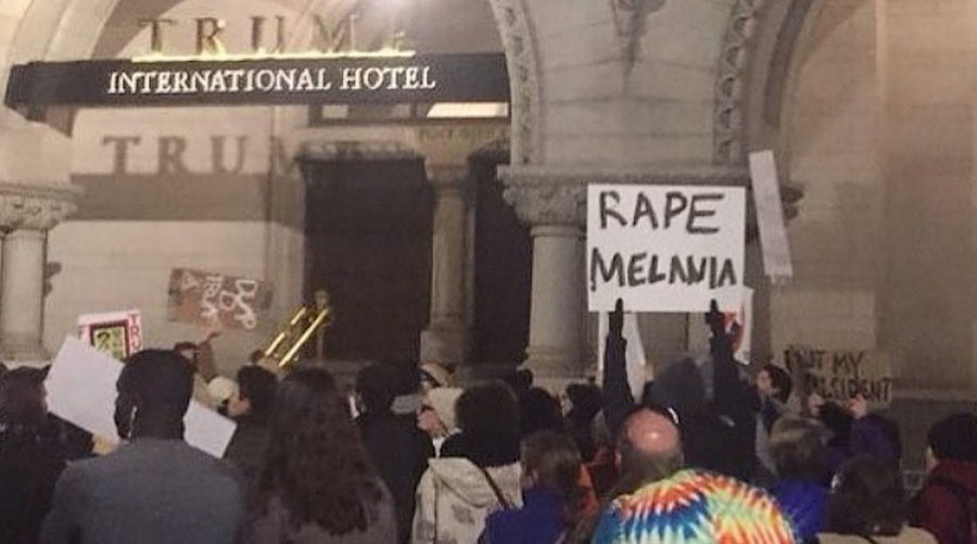Image result for Report: 'Rape Melania' Sign Was Brought to Protest by Trump Supporter
