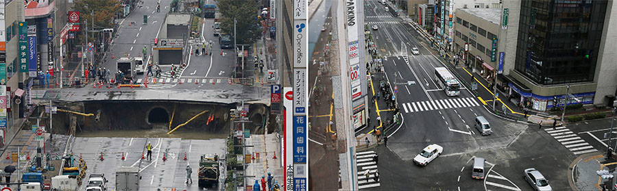 A photo of a giant sinkhole (L) measuring around 30 metres (98 feet) wide and 15 metres deep, which appeared in a five-lane street in the middle of the Japanese city of Fukuoka on November 8, 2016 and of the same section of road (R) after repairs were made on November 15. © Jiji Press