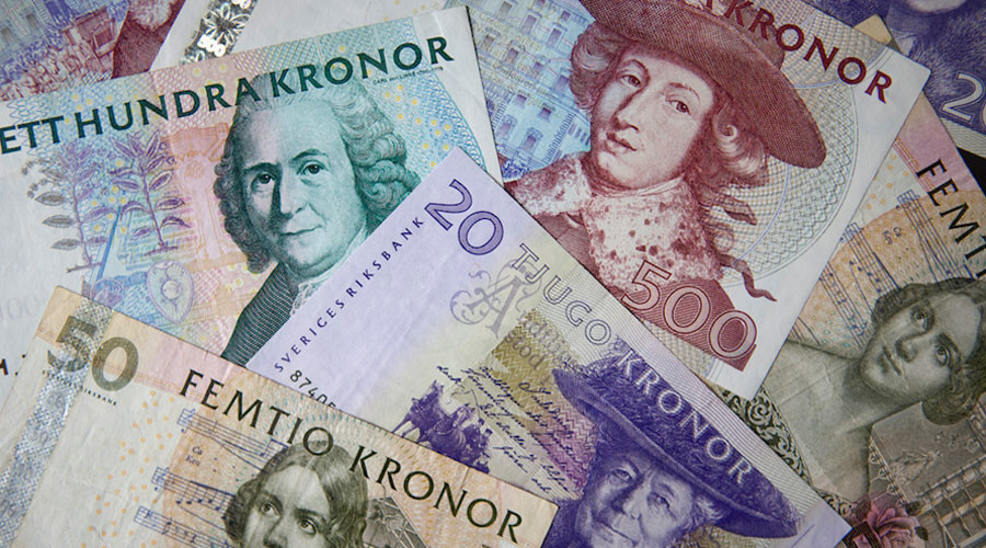 Swedish kronor notes in various denominations are seen in this photo illustration taken in Stockholm © Bob Strong