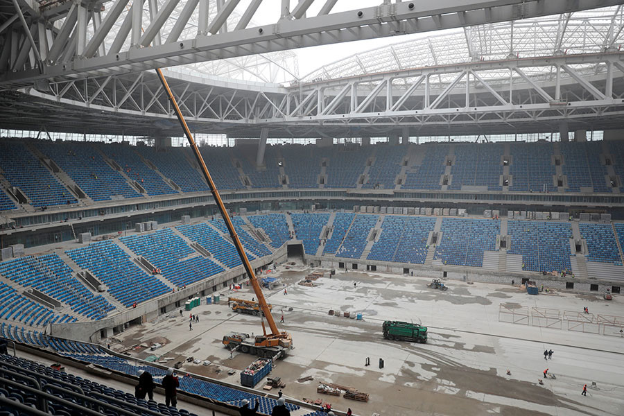 A view of a new stadium under construction on Krestovsky Island, known as Zenit Arena, that will host 2017 FIFA Confederations Cup and 2018 FIFA World Cup matches, in St. Petersburg, Russia, October 3, 2016. ©Pawel Kopczynski