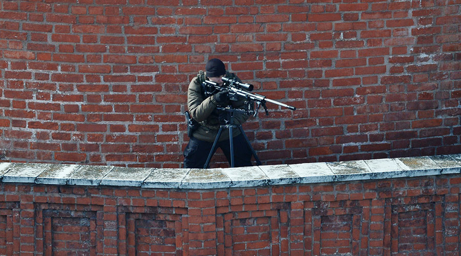 A sniper at a Kremlin tower during the military parade to mark the 70th anniversary of Victory in the WWII. © Maksim Blinov