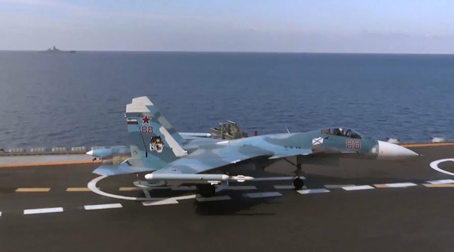 Su-33 fighter before taking off from Admiral Kuznetsov aircraft carrier near the Syrian coast in the Mediterranean Sea. © Ministry of defence of the Russian Federation