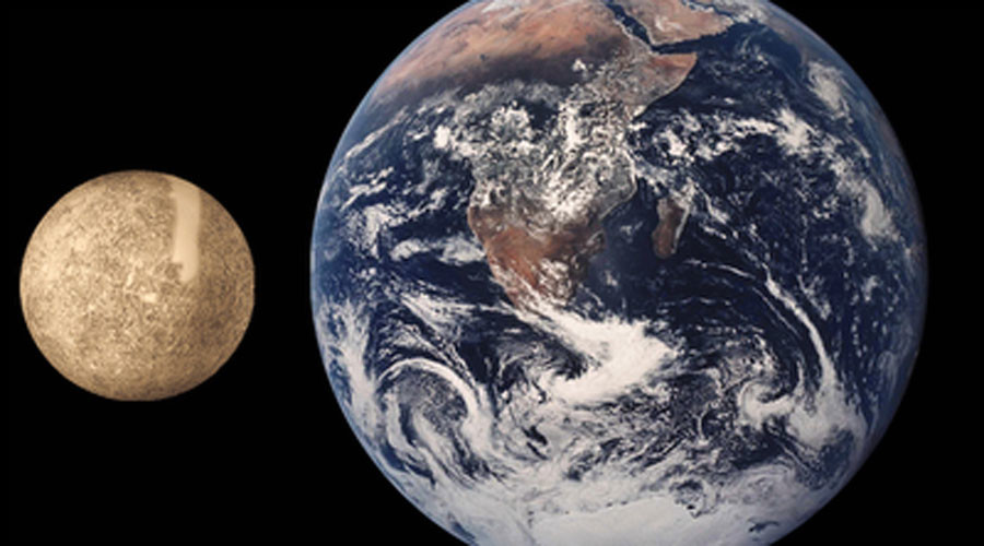 © Mercury is on the left, Earth is on the right