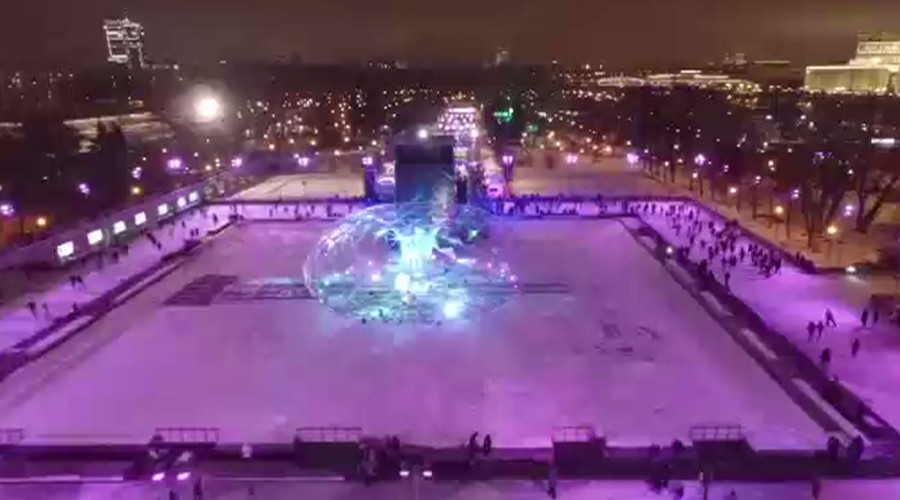 Moscow's spectacular never-ending ice skating rink captured by drone (VIDEO)