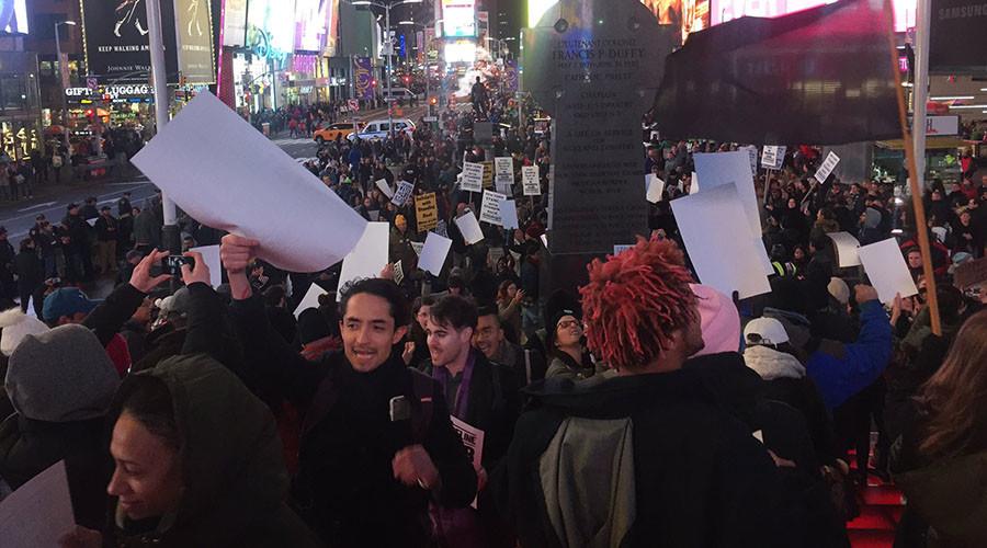 DAPL protesters for Sophia Wilansky burn US flag, occupy Times Square