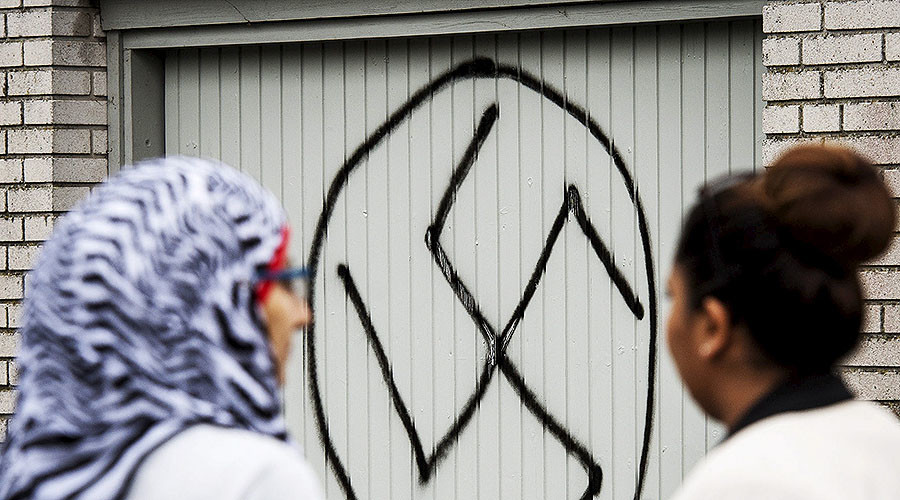 Stockholm mosque desecrated by swastikas, anti-Muslim slogans