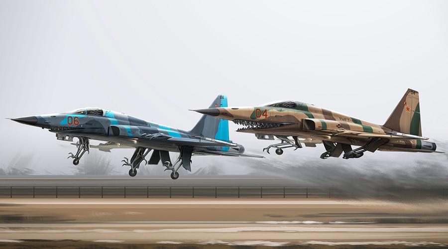 US artist turns Russian warplanes, tanks into sci-fi 'biomech' monsters (ARTWORK)