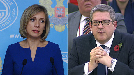 Russian Foreign Ministry Spokesperson Maria Zakharova (L), Andrew Parker the head of M15 (R). © Sputnik