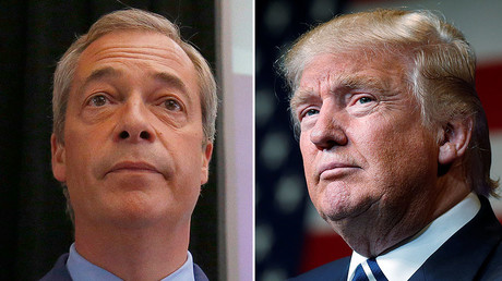 Nigel Farage, the leader of the United Kingdom Independence Party (UKIP) (L),  Republican presidential nominee Donald Trump (R) © Reuters