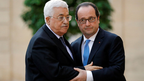 French President Francois Hollande and Palestinian President Mahmoud Abbas © Philippe Wojazer