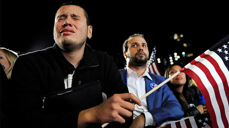 Marvin DeLeon (L) of Washington County, NY, cries as he stands in the overflow crowd for Democratic U.S. presidential nominee Hillary Clinton's election night rally at the Jacob K. Javits Convention Center in New York, U.S. November 8, 2016. © Mark Kauzlarich