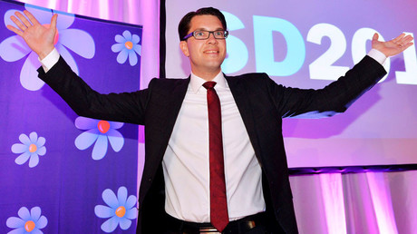 Party leader Jimmie Akesson celebrates at the election night party of the Sweden Democrats in Stockholm © Anders Wiklund