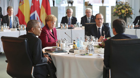 U.S. President Barack Obama, German Chancellor Angela Merkel, French President Francois Hollande and Italian Prime Minister Matteo Renzi meet at the chancellery in Berlin, Germany, November 18, 2016. © Kay Nietfeld