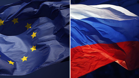 European flag (L), Russian flag (R) © Reuters