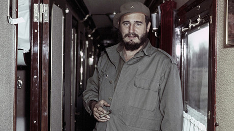 Fidel Castro Ruz, Cuban revolutionary leader and President of the Council of State and Council of Ministers of the Republic of Cuba, during his visit to the Soviet Union. In the Irkutsk-Bratsk train © Vasily