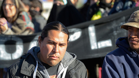 David Goldtooth, environmental activist, (L) attends a news conference at the Oceti Sakowin camp during a protest against plans to pass the Dakota Access pipeline near the Standing Rock Indian Reservation, near Cannon Ball, North Dakota, U.S. November 26, 2016. © Stephanie Keith