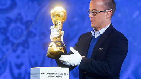 Russian representative at FIFA Edgar Streltsov during the rehearsal of the draw for the 2017 Confederations Cup in Kazan. © Maksim Bogodvid