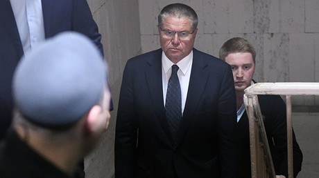 Minister for Economic Development Alexei Ulyukayev at the Basmanny District Court of Moscow. ©Maksim Blinov