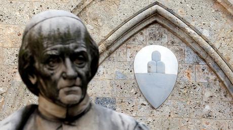 The Monte dei Paschi di Siena bank logo is pictured at the bank's headquarters in Siena. ©Stefano Rellandini