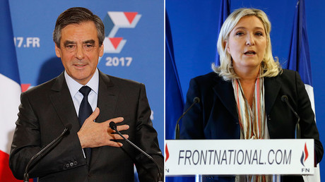 Francois Fillon, former French prime minister and member of Les Republicains political party (L), Marine Le Pen, France's far-right National Front political party leader (R). © Reuters