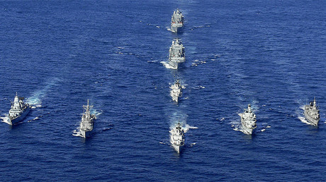 FILE PHOTO: The Italian frigate ITS Zeffiro (front C) leads a flotilla of NATO warships © CPO Luigi Cotrufo-Italian Navy