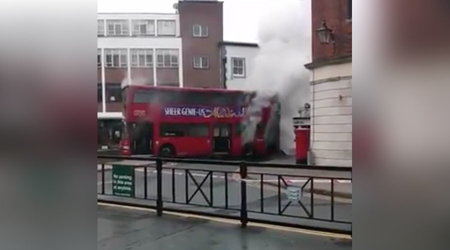 London double-decker bus bursts into flames on busy high street (VIDEO)