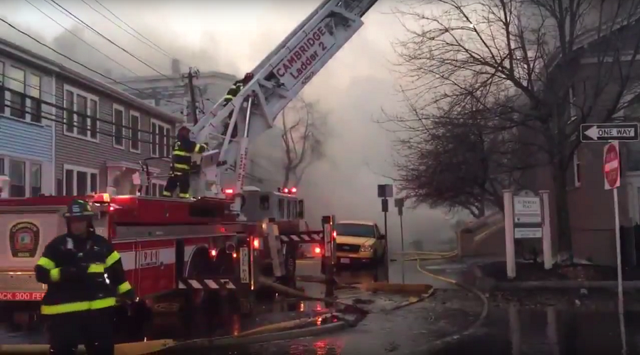 Building collapses, cars burned out, 3 responders injured in massive Massachusetts fire