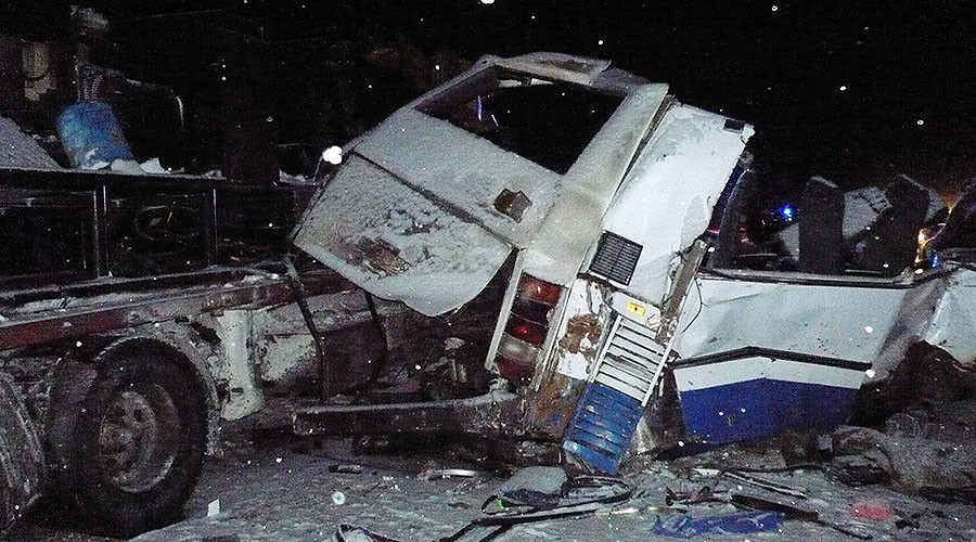 10 children among 12 killed in collision between truck & bus carrying acrobatics team in Russia