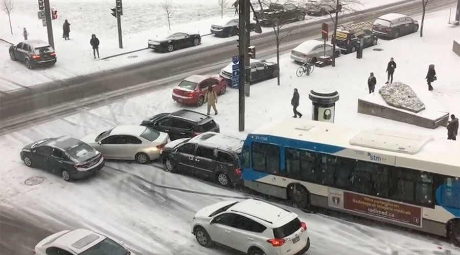 Slo-mo chaos: Icy road leads to multi-vehicle crashes during morning commute (VIDEO)