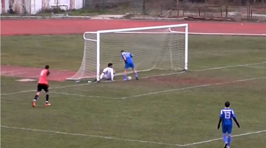 Worst miss ever? Unbelievable miss by Greek footballer inches from open net (VIDEO)