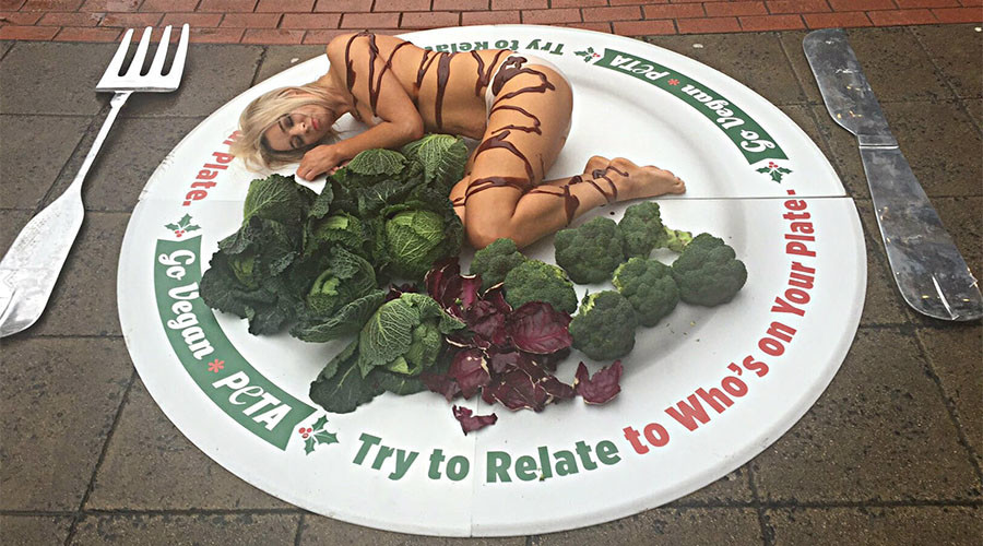 Turkey breast? Topless PETA protester poses as poultry slice in Christmas demonstration