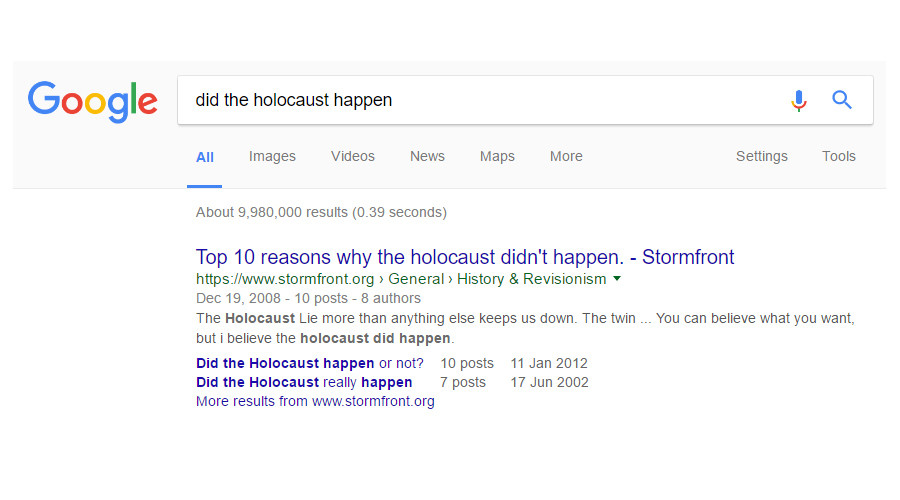 Google allows Holocaust denial results to remain at top of search query