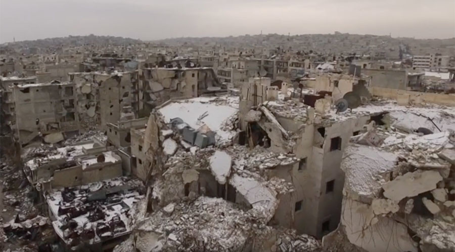 First snow covers war-torn Aleppo (DRONE VIDEO)