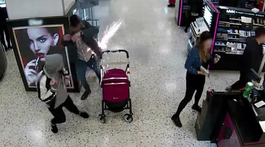 E-cigarette explodes in man's pocket near pram, dramatic CCTV footage shows (VIDEO)