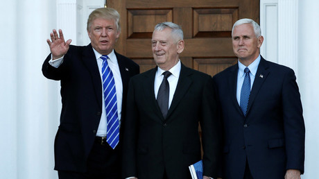 U.S. President-elect Donald Trump (L) and Vice President-elect Mike Pence (R) greet retired Marine General James Mattis for a meeting at the main clubhouse at Trump National Golf Club in Bedminster, New Jersey, U.S., November 19, 2016. © Mike Segar