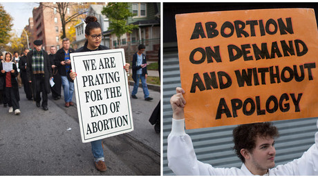 A combination photo shows an anti-abortion protest march (L) and a pro-abortion rights protester holds a sign as he confronts an anti-abortion demonstration in Queens, New York, U.S. on October 20, 2012. © Andrew Kelly