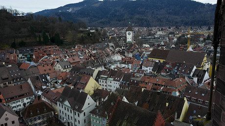 FILE PHOTO: The old town is seen from the cathedral tower in Freiburg, Germany © Kai Pfaffenbach / Reuters