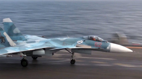 Su-33 fighter on the deck of Admiral Kuznetsov aircraft carrier © Ministry of defence of the Russian Federation